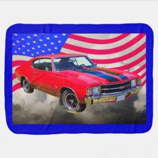Chevrolet 1971 Chevelle SS y bandera americana Mantas De Bebé