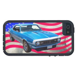 Chevrolet Camaro 1968 y bandera americana iPhone 5 Fundas