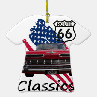 Chevrolet Impala on Route66 Double-Sided T-Shirt Ceramic Christmas Ornament
