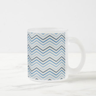 CHEVRON02 BLUE WHITE ZIGZAG PATTERNS TEMPLATES SHA FROSTED GLASS COFFEE MUG