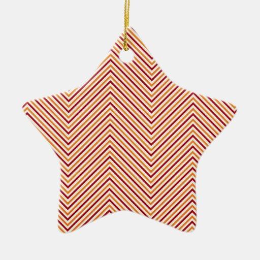 chevron03-redorange DARK RED ORANGE WHITE ZIGZAG P Double-Sided Star Ceramic Christmas Ornament