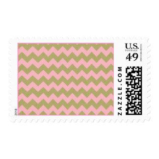 chevron07-pinkgreen LIGHT PINK GREENISH TAN ZIGZAG Postage Stamp