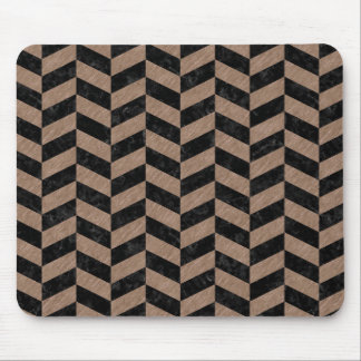 CHEVRON1 BLACK MARBLE & BROWN COLORED PENCIL MOUSE PAD