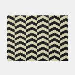 Chevron2 Black Marble & Beige Linen Doormat at Zazzle