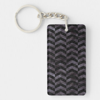 CHEVRON2 BLACK MARBLE & BLACK WATERCOLOR KEYCHAIN