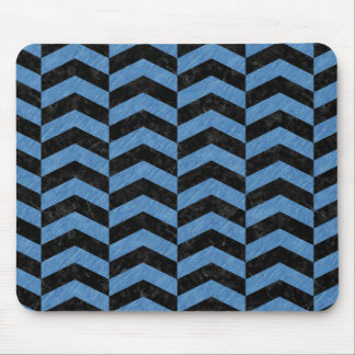 CHEVRON2 BLACK MARBLE & BLUE COLORED PENCIL MOUSE PAD