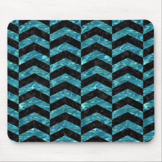 CHEVRON2 BLACK MARBLE & BLUE-GREEN WATER MOUSE PAD