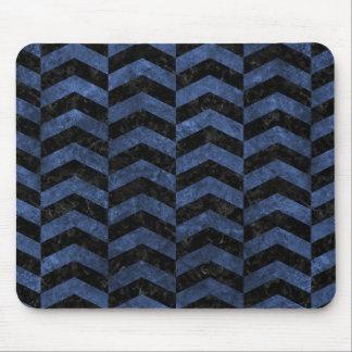 CHEVRON2 BLACK MARBLE & BLUE STONE MOUSE PAD