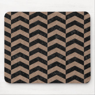 CHEVRON2 BLACK MARBLE & BROWN COLORED PENCIL MOUSE PAD