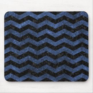 CHEVRON3 BLACK MARBLE & BLUE STONE MOUSE PAD