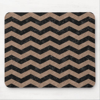 CHEVRON3 BLACK MARBLE & BROWN COLORED PENCIL MOUSE PAD