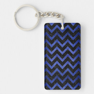 CHEVRON9 BLACK MARBLE & BLUE BRUSHED METAL KEYCHAIN