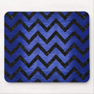 CHEVRON9 BLACK MARBLE & BLUE BRUSHED METAL (R) MOUSE PAD