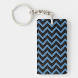CHEVRON9 BLACK MARBLE & BLUE COLORED PENCIL KEYCHAIN