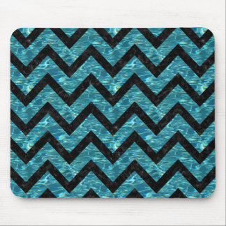 CHEVRON9 BLACK MARBLE & BLUE-GREEN WATER (R) MOUSE PAD
