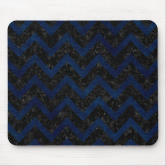 CHEVRON9 BLACK MARBLE & BLUE GRUNGE MOUSE PAD