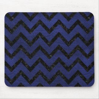 CHEVRON9 BLACK MARBLE & BLUE LEATHER (R) MOUSE PAD
