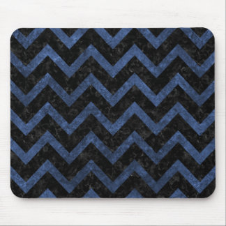 CHEVRON9 BLACK MARBLE & BLUE STONE MOUSE PAD