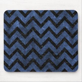 CHEVRON9 BLACK MARBLE & BLUE STONE (R) MOUSE PAD