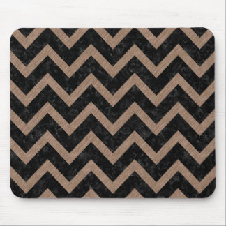 CHEVRON9 BLACK MARBLE & BROWN COLORED PENCIL MOUSE PAD