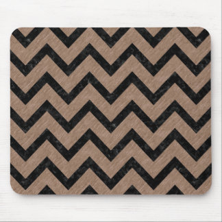 CHEVRON9 BLACK MARBLE & BROWN COLORED PENCIL (R) MOUSE PAD
