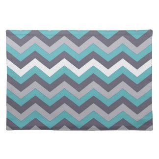 chevron 02 ,zigzag, aqua,silver place mats