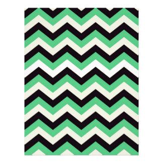 Chevron 02 zigzag, black,aqua custom letterhead