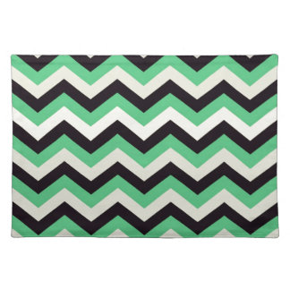 Chevron 02 zigzag, black,aqua placemat