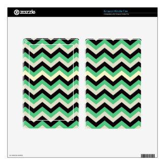 Chevron 02 zigzag, black,aqua decals for kindle fire