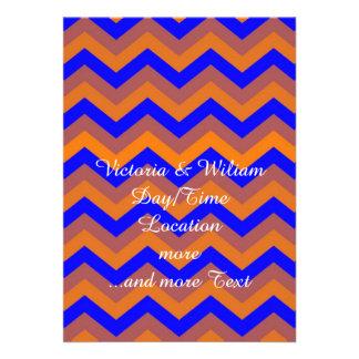 chevron 02 zigzag blue orange personalized announcements