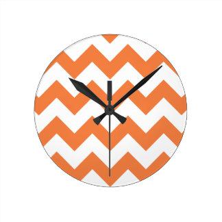 Chevron 1 Celosia Orange Round Clock