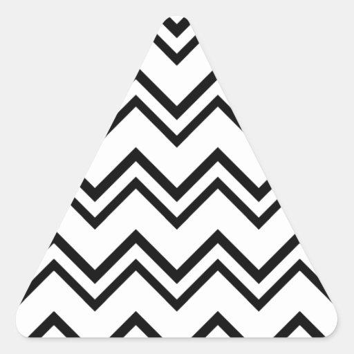 Chevron 2 blanco y negro pegatina triangular