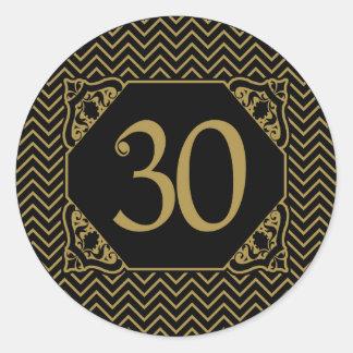 Chevron 30th Birthday Classic Round Sticker