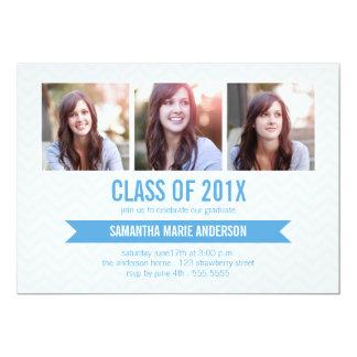 Chevron 3 Photo Graduation Invitation - Blue