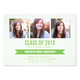 Chevron 3 Photo Graduation Invitation - Green