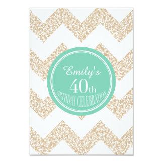 Chevron 40th Birthday Celebration - Choose Color 3.5x5 Paper Invitation Card
