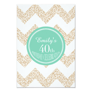 Chevron 40th Birthday Celebration - Choose Color Card