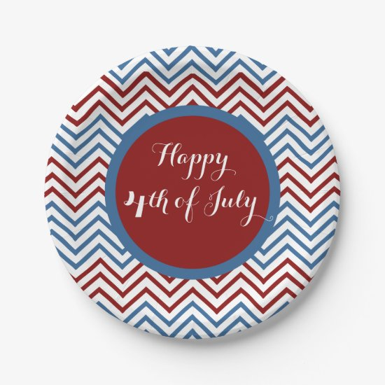 Chevron 4th of July Paper Plates
