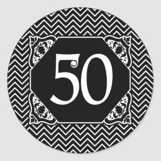 Chevron 50th Birthday Classic Round Sticker