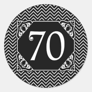 Chevron 70th Birthday Classic Round Sticker
