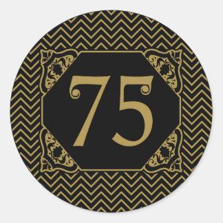 Chevron 75th Birthday Classic Round Sticker