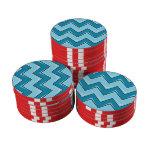 Chevron 8 azul claro fichas de póquer