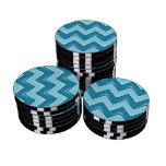 Chevron 8 azul claro juego de fichas de póquer
