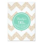 Chevron 90th Birthday Celebration - Choose Color 3.5x5 Paper Invitation Card