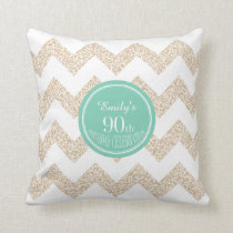 Chevron 90th Birthday Celebration Pillow with name