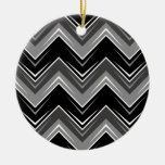 Chevron 9 Black and White Double-Sided Ceramic Round Christmas Ornament