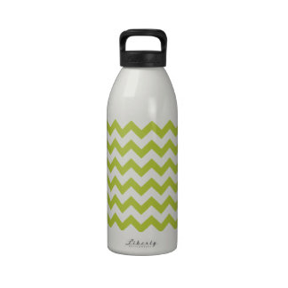 Chevron Acid Green And White Water Bottle