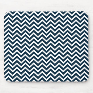 Chevron agita en zigzag azul y blanco de mousepads