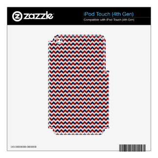Chevron Alternating Red and Blue Decals For iPod Touch 4G
