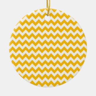 Chevron amarillo ambarino zigzag ornamento para arbol de navidad